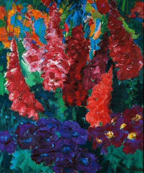 Violet and red garden flowers, 1916, by Emil Nolde (1867-1956). Germany, 20th century.