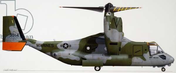 Bell Boeing V-22 Osprey convertiplane, 1989, USA, Drawing