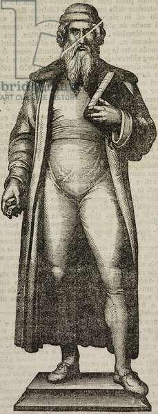 Statue of German typographer Johannes Gutenberg (circa 1390-1403-1468), 1837, Mainz, Germany, illustration from Teatro universale, Raccolta enciclopedica e scenografica, No 205, June 9, 1838