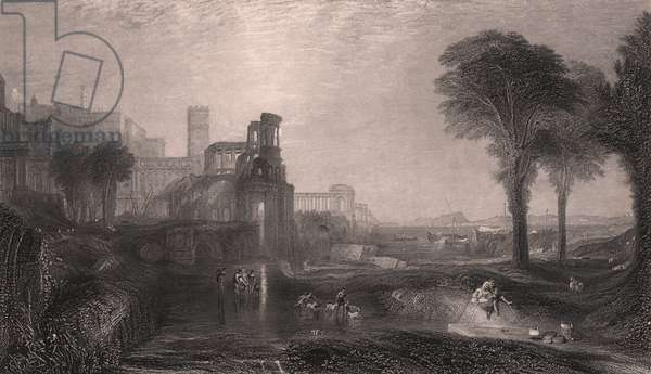 Caligula's Palace and Bridge, between Baia and Pozzuoli, Campania, Italy, steel engraving after painting by Joseph Mallord William Turner (1775-1851), ca 265x18 cm