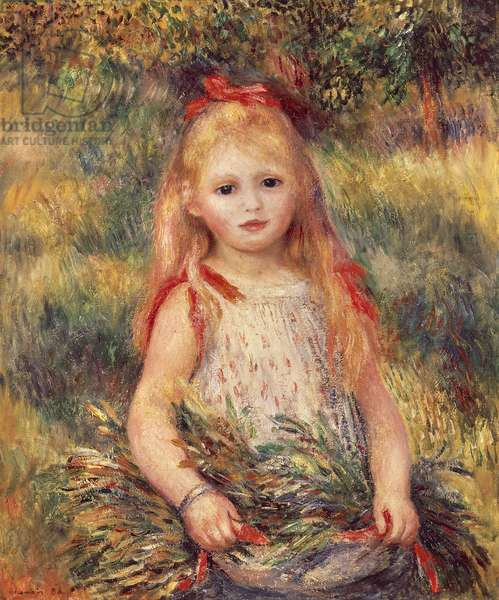 Girl with sheaf of corn by Pierre-Auguste Renoir (1841-1919), oil on canvas, 65x54 cm, 1888