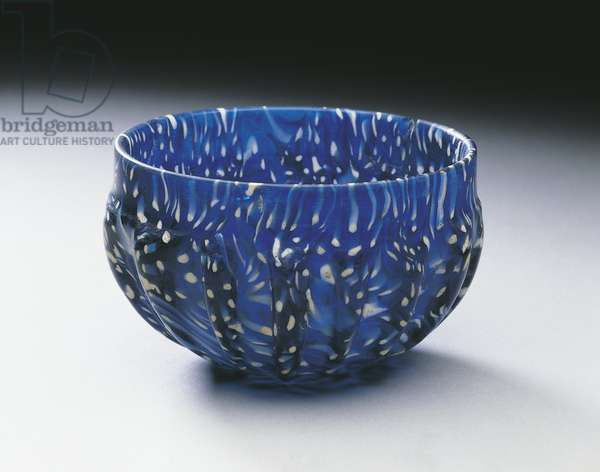 Variegated blue and white glass bowl, from Pompei