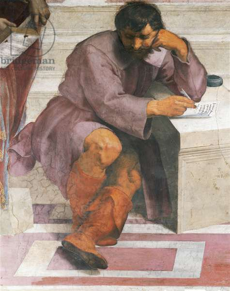 Heraclitus, detail of The School of Athens, 1508-1511, by Raphael (1483-1520), fresco, Room of the Segnatura, Apostolic Palace, Vatican City