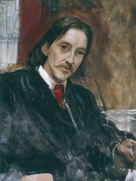 Portrait of Robert Louis Stevenson (Edinburgh, 1850 - Vailima, 1894), Scottish writer, Oil on canvas by William Blake Richmond (1842-1921), 1868, 73x56 cm
