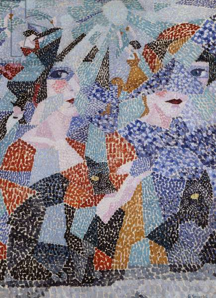 La danseuse obsedante (The haunting dancer), 1911, by Gino Severini (1883-1966), oil on canvas, 73x54 cm. Italy, 20th century.