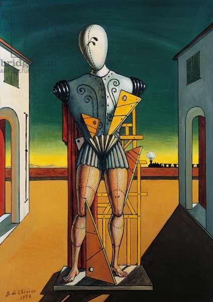 Troubadour, by Giorgio de Chirico (1888-1978), oil on canvas, 70x50 cm. Italy, 20th century.