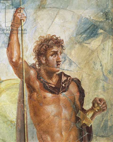 Detail of a fresco depicting Alexander, from the Marriage of Alexander (Ares) and Stateira (Aphrodite), Regio 6 Insula Occidentalis 39, Pompeii (UNESCO World Heritage List, 1997), Campania. Roman Civilization, 54-68.