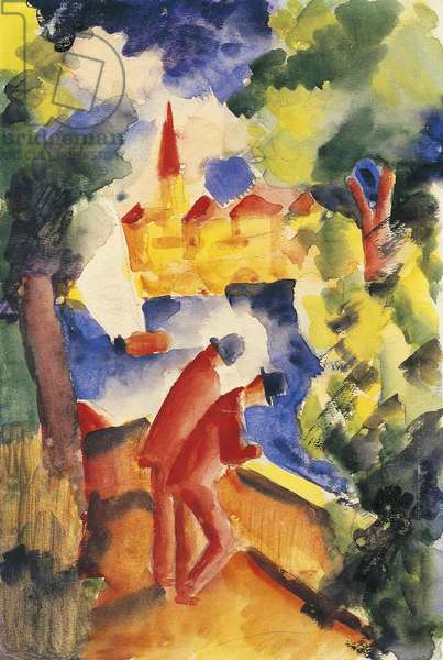 Man on lakeside terrace, 1914, by August Macke (1887-1914)