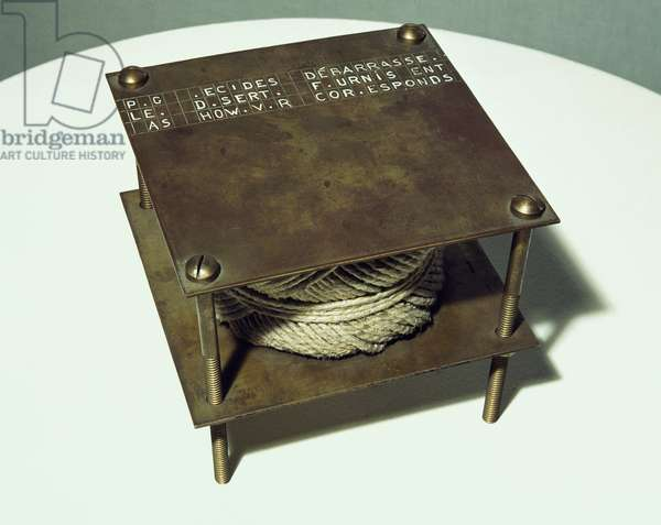 Secret noise, 1916, by Marcel Duchamp (1887-1968), ball of twine between two brass plates fastened with four screws. 20th century.