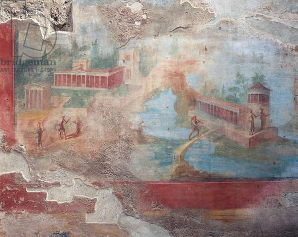 Fresco of fountain-nymphaeum of House of Small Fountain, Pompeii (UNESCO World Heritage Site, 1997), Italy, Roman civilization, 1st century BC