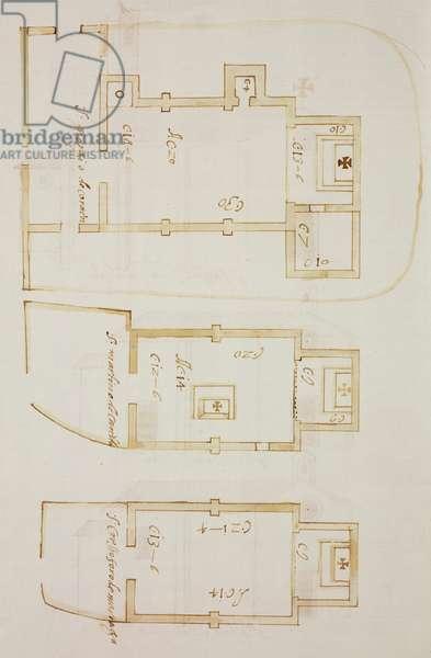 Plan of church of Saint George of Corneno, plans of Oratories of Saint Martin in Carella and Saint Christopher in Mariaga, Corneno, Eupilio, parish of Incino Erba