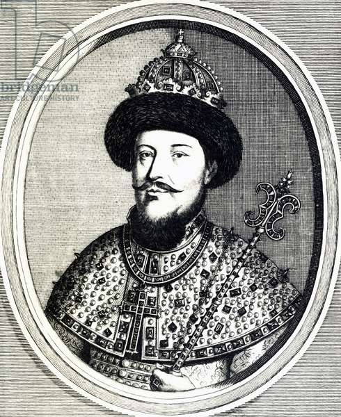 Portrait of Alexei Mikhailovich Romanov (Moscow, 1629-1676), Tsar of Muscovy and Russia, engraving, Russia, 17th century