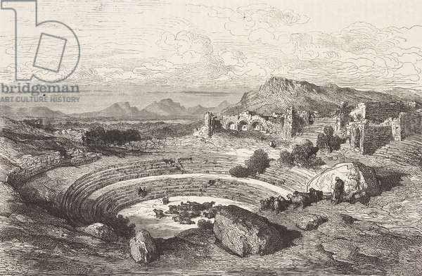 Ruins of Roman theatre of Merida, Extremadura, Spain, drawing by Dore, from Travels in Spain by Gustave Dore (1832-1883) and Jean Charles Davillier (1823-1883)