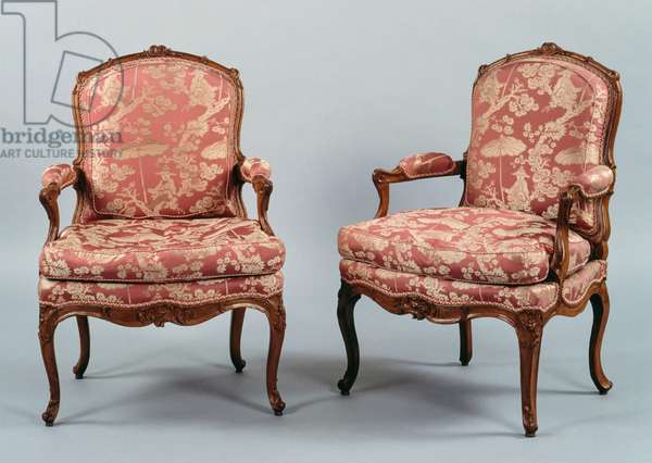Pair of Louis XV style armchairs, curved armrests and legs, France, 18th century
