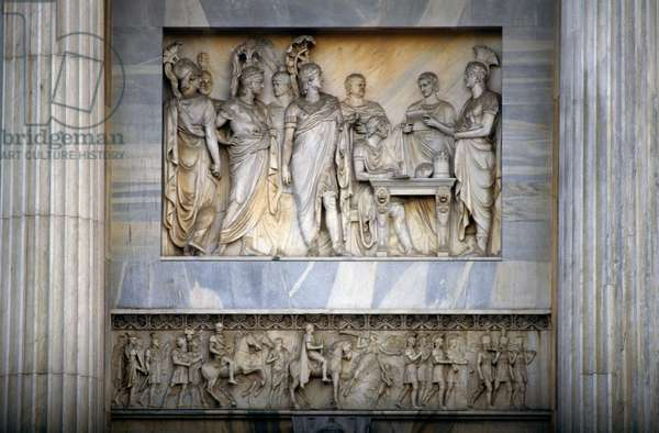 Congress of Vienna, by Giambattista Perabo, relief decoration on the Arch of Peace, 1807-1838, by Luigi Cagnola (1762-1833), Milan, Lombardy, Italy, 19th century
