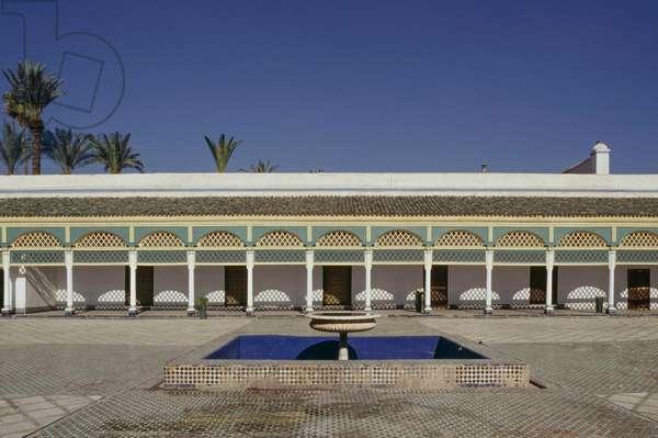 Great courtyard of Bahia Palace, medina of Marrakesh (UNESCO World Heritage List, 1985), Morocco, 19th-20th century