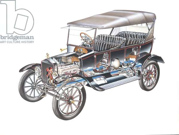 Model T Ford, (1908), cutaway, illustration