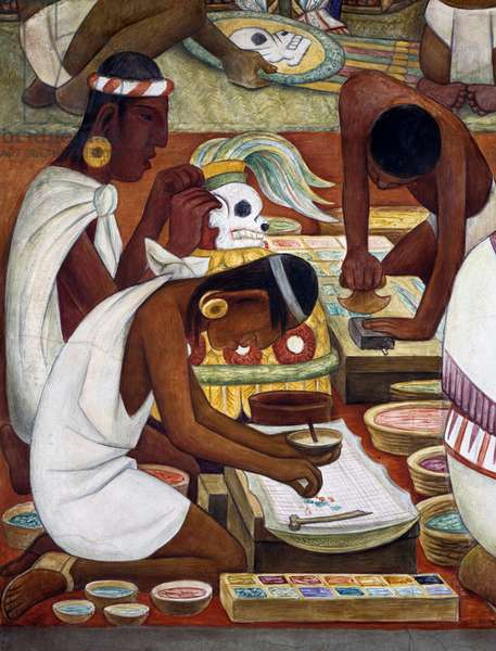 Olmec artisans decorating objects with vegetable colours, Zapotec civilisation, 1942, by Diego Rivera (1886-1957), detail from the National Palace frescoes, Mexico City. Mexico, 20th century.