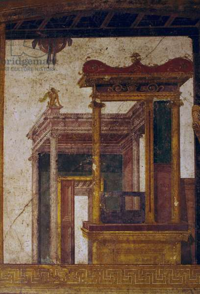Fantastic architectures, fresco from oecus in House of Vettii, Pompeii (UNESCO World Heritage List, 1997), Campania, Italy, Roman civilization, 1st century AD