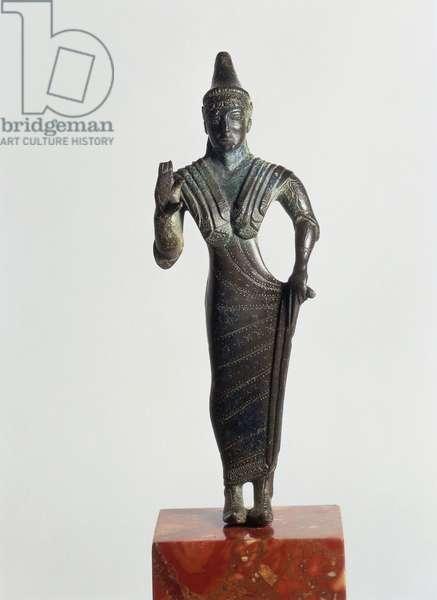 Italy, Perugia, Bronze statue depicting female figure making offering