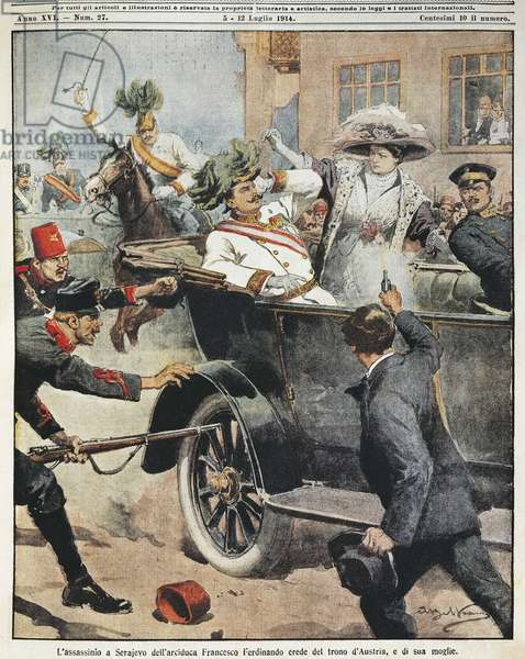 Sarajevo, Assassination of Archduke Franz Ferdinand, heir to Austrian throne, and his wife, by Achille Beltrame, illustration, Illustrator Achille Beltrame (1871-1945), from La Domenica del Corriere, 5th July 1914