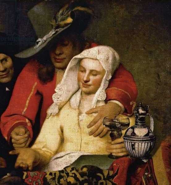 """Detail de  """"""""Chez l'entremetteuse"""""""" - Portrait d'un jeune galant et de la courtisane - Peinture de Johannes (ou Jan) Vermeer (1632-1675) 1656 Gemaldegalerie Alte Meister, Dresde ©DeAgostini/Leemage"""