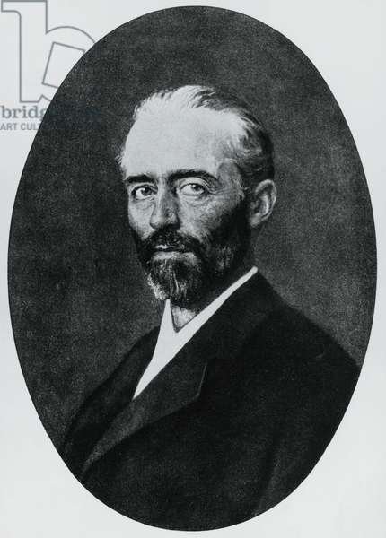 Portrait of Emil Theodor Kocher (1841-1917), Swiss physician, Nobel Prize in Medicine in 1909, engraving