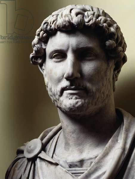 Marble bust of Emperor Hadrian (76-138 AD), Roman art, 1st-2nd century AD
