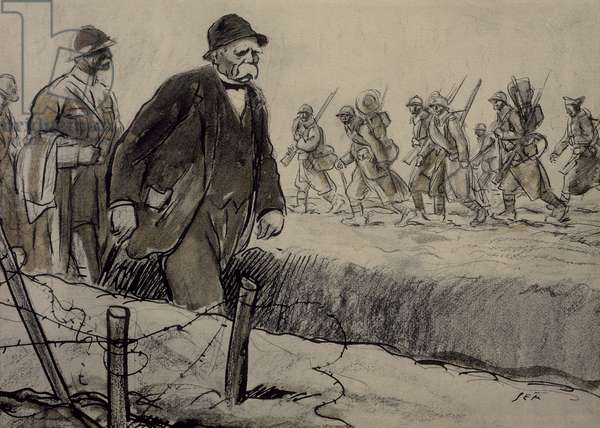 Clemenceau in trenches, 1917, by Shem (1863-1934), drawing, World War I, France, 20th century