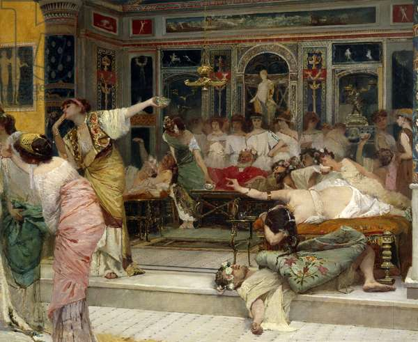 Gladiatorial combat during dinner at Pompei, by Francesco Netti (1832-1894), oil on canvas, 115x208 cm, Detail, 1880,