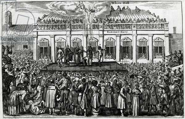 The beheading of King Charles I (1600-1649) on platform positioned in front of Whitehall Palace, January 30, 1649, engraving, United Kingdom, 17th century