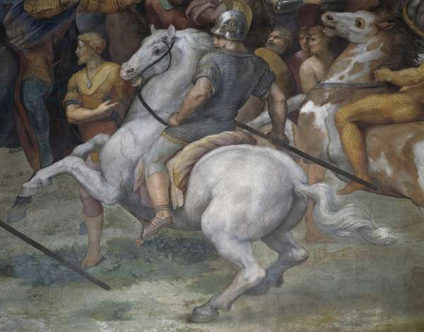 The Meeting of Leo the Great and Attila, 1513-1514, by Raphael (1483-1520) and Giulio Romano (ca 1499-1546), fresco, Room of Heliodorus, Apostolic Palace, Vatican City, Detail