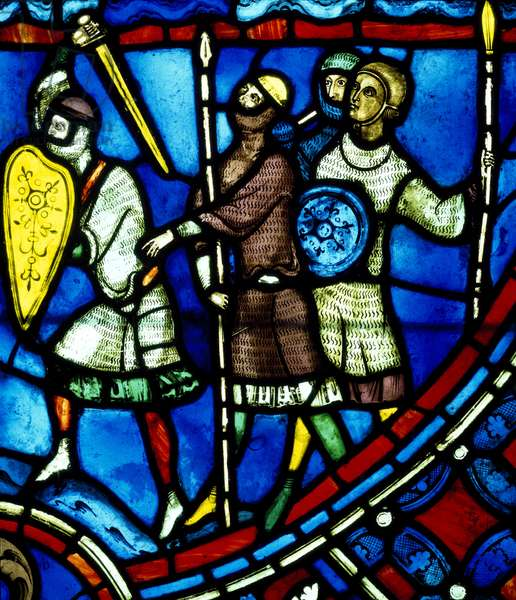 The invasion of Rheims by Vandals, scene from History of St Nicasius and his sister St Eutropia, 1210-1220, stained-glass, Soissons Cathedral, Picardy, Detail, France, 13th century