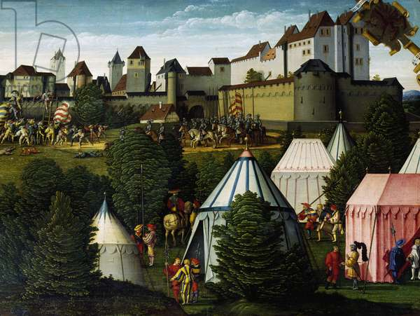 Military camp, detail from story of David, 1534, by Hans Sebald Beham of (1500-1550), painted on wood, Germany, 16th century