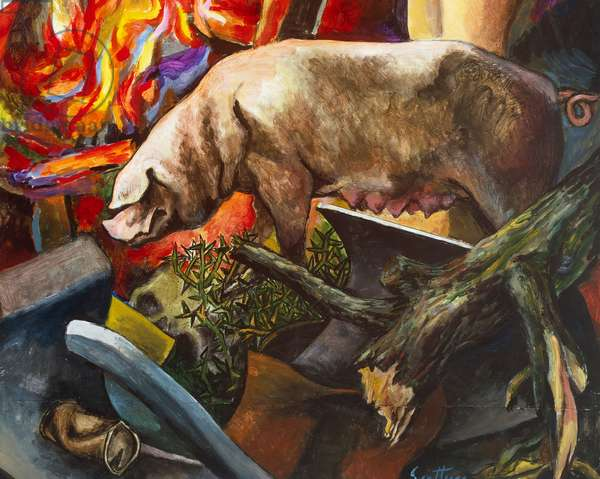 Witches camp, 1980, by Renato Guttuso (1911-1987), acrylic on canvas-backed paper, 170x162 cm. Italy, 20th century. Detail.