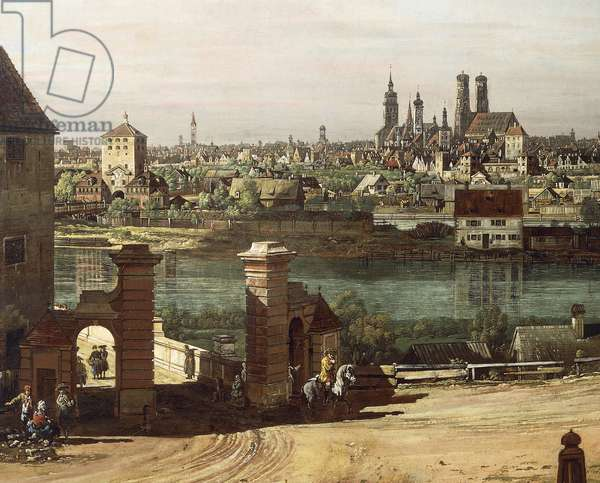View of Munich from Haidhausen with river Isar in centre, 1761, by Bernardo Bellotto, known as Canaletto (1721-1780) Oil on canvas, 69.2x119.8 cm, Detail