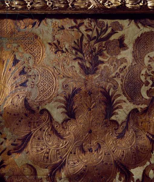 Leather covering from Madame de Maintenon's antechamber, Chateau de Maintenon, France, 17th century