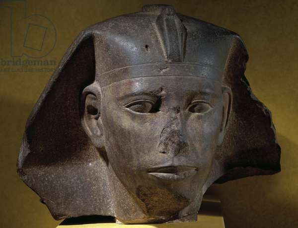 Head of Pharaoh Didufri on sphinx, quartzite sculpture, from Abu Rawash, Egyptian Civilization, Old Kingdom, Dynasty IV