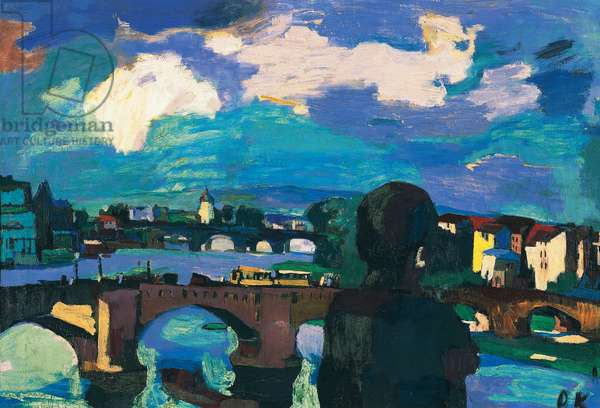 Augustus Bridge in Dresden, 1923, by Oscar Kokoschka (1886-1980), oil on canvas, 65x96 cm. Austria, 20th century.