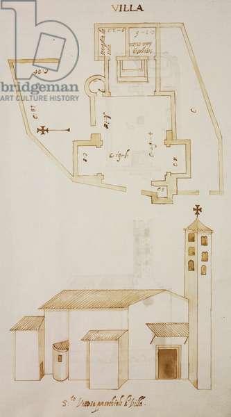 Plan and elevation of church of Saint Victor, Villa, Albavilla, parish of Incino Erba, designed on occasion of visit of Carlo Borromeo, about 1574, Italy, 16th century