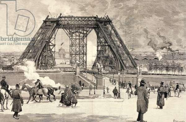 Eiffel Tower under construction for Paris World Fair, 1889, progress of work in February 1888, France, 19th century