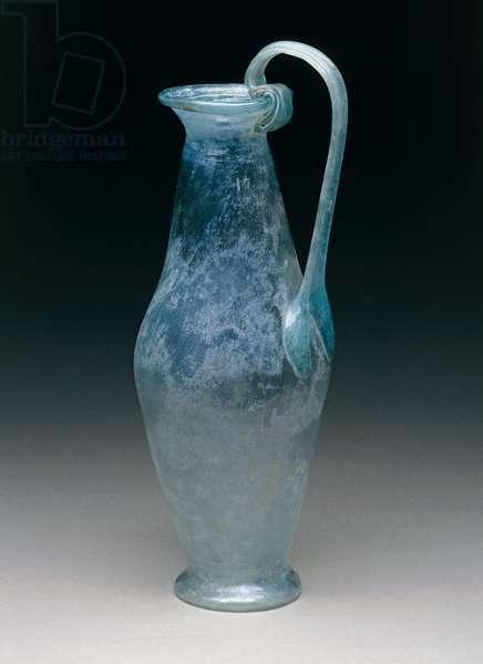 Light green glass bottle with ribbon-shaped handle raised above lip, Pompeii, Campania, Italy, Roman civilization, 1st century AD