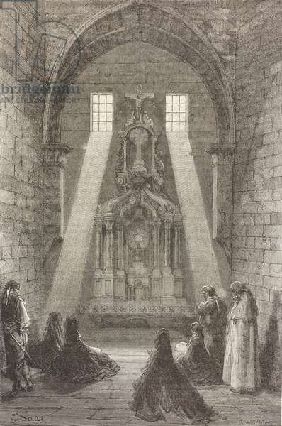 St Mary's mudejar church, Illescas, Castile-La Mancha, Spain, drawing by Dore, from Travels in Spain by Gustave Dore (1832-1883) and Jean Charles Davillier (1823-1883)