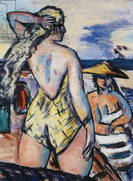 Girls by the sea, 1938, by Max Beckmann (1884-1950), oil on cardboard. Germany, 20th century.