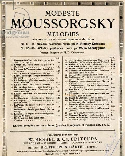 Title page of Melodies, by Modest Petrovich Mussorgsky (1839-1881), revised by Nikolai Andreyevich Rimsky-Korsakov, Russia, 19th century