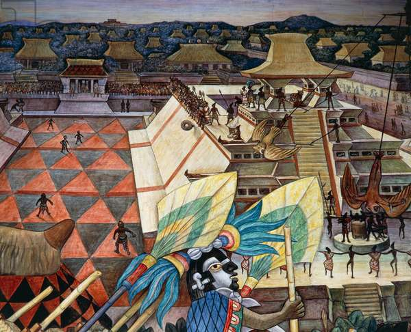 The game of pelota, Totonaca civilisation, 1950, by Diego Rivera (1886-1957), detail from the National Palace frescoes, Mexico City. Mexico, 20th century.
