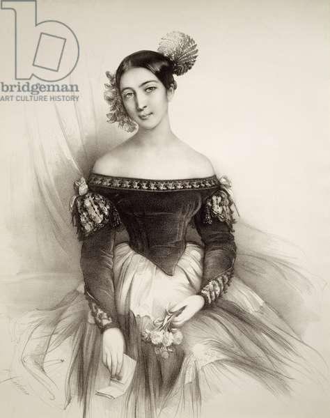 Portrait of Emma Howson Albertazzi (1814-1847), English mezzo-soprano as Rosina in Barber of Seville, by Gioacchino Rossini, Engraving, 19th century