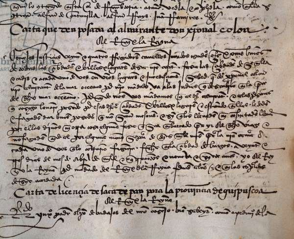 Charter of privileges given to Admiral Christopher Columbus, April 23, 1497, Burgos, Spain, from the manuscript El tumbo de los Reyes catolicos, 15th-16th century