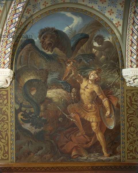 Sigurd killing the dragon Fafnir by holding the Gram sword, from the Sigurd Saga, Lower Hall, c.1882-83 (mural) (for detail see 419238)
