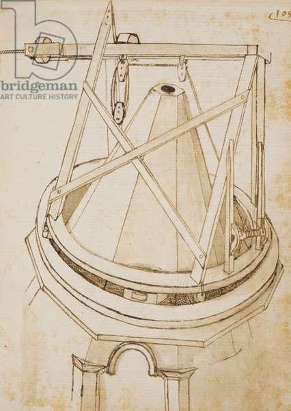 Revolving crane for the lantern (second version), by Bonaccorso Ghiberti (1451-1516), Banco Rari manuscript 228, 105 r.